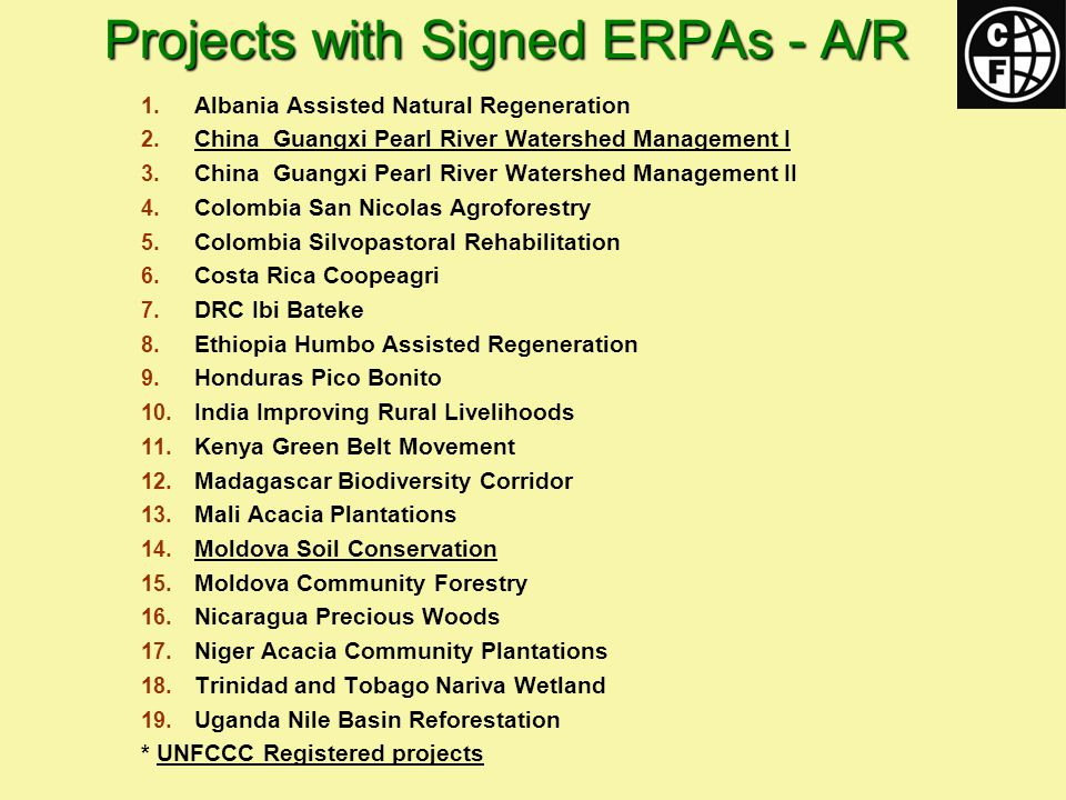 Projects with Signed ERPAs - A/R 1. Albania Assisted Natural Regeneration 2.