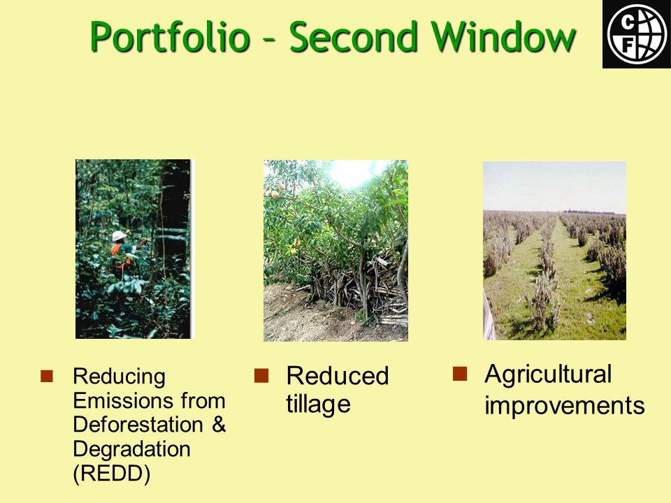 Portfolio – Second Window Reducing Emissions from Deforestation & Degradation (REDD) Reduced tillage Agricultural improvements