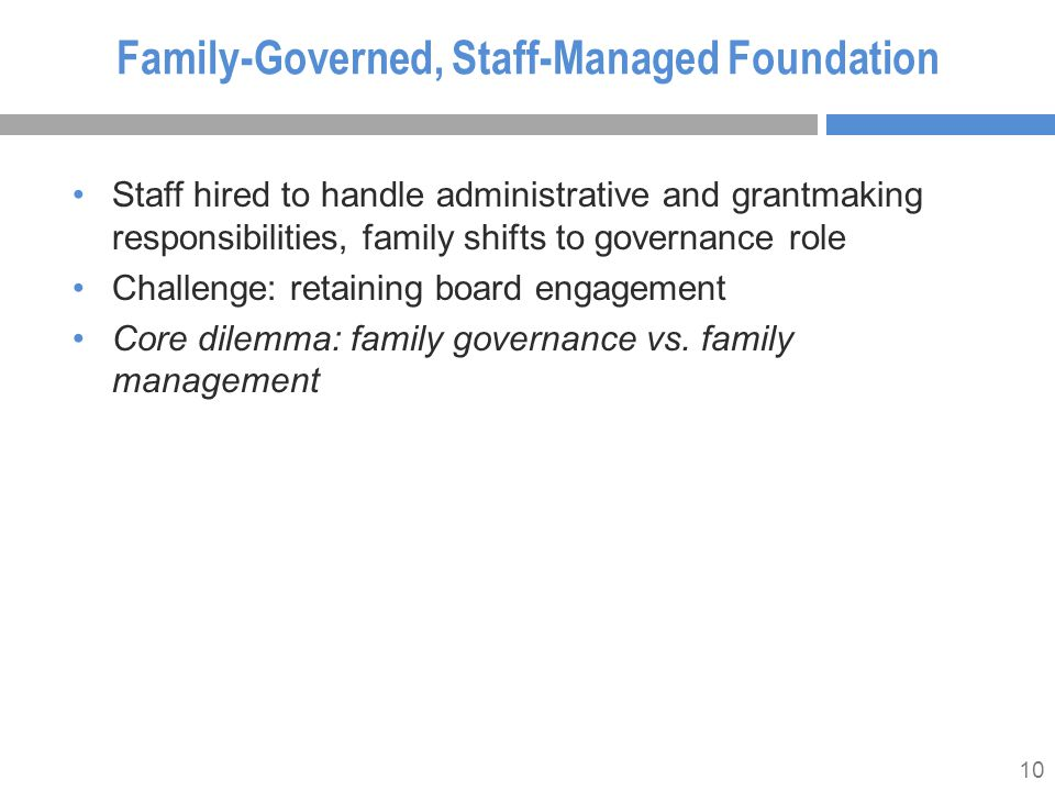 10 Family-Governed, Staff-Managed Foundation Staff hired to handle administrative and grantmaking responsibilities, family shifts to governance role Challenge: retaining board engagement Core dilemma: family governance vs.