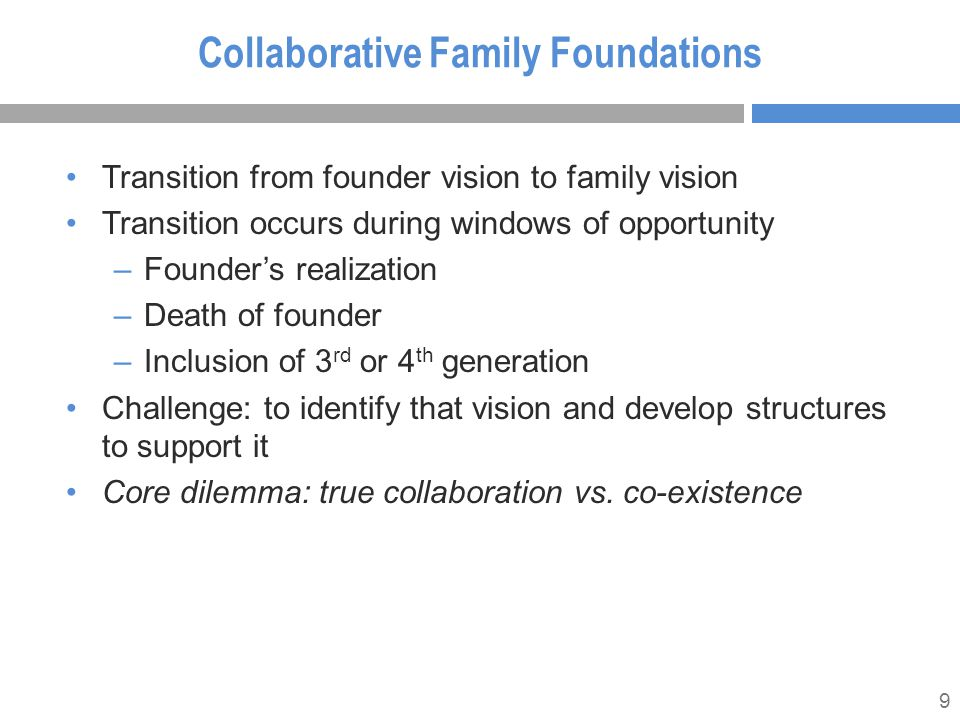 9 Collaborative Family Foundations Transition from founder vision to family vision Transition occurs during windows of opportunity –Founder's realization –Death of founder –Inclusion of 3 rd or 4 th generation Challenge: to identify that vision and develop structures to support it Core dilemma: true collaboration vs.