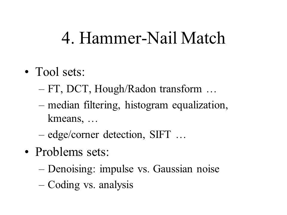 4. Hammer-Nail Match Tool sets: –FT, DCT, Hough/Radon transform … –median filtering, histogram equalization, kmeans, … –edge/corner detection, SIFT …