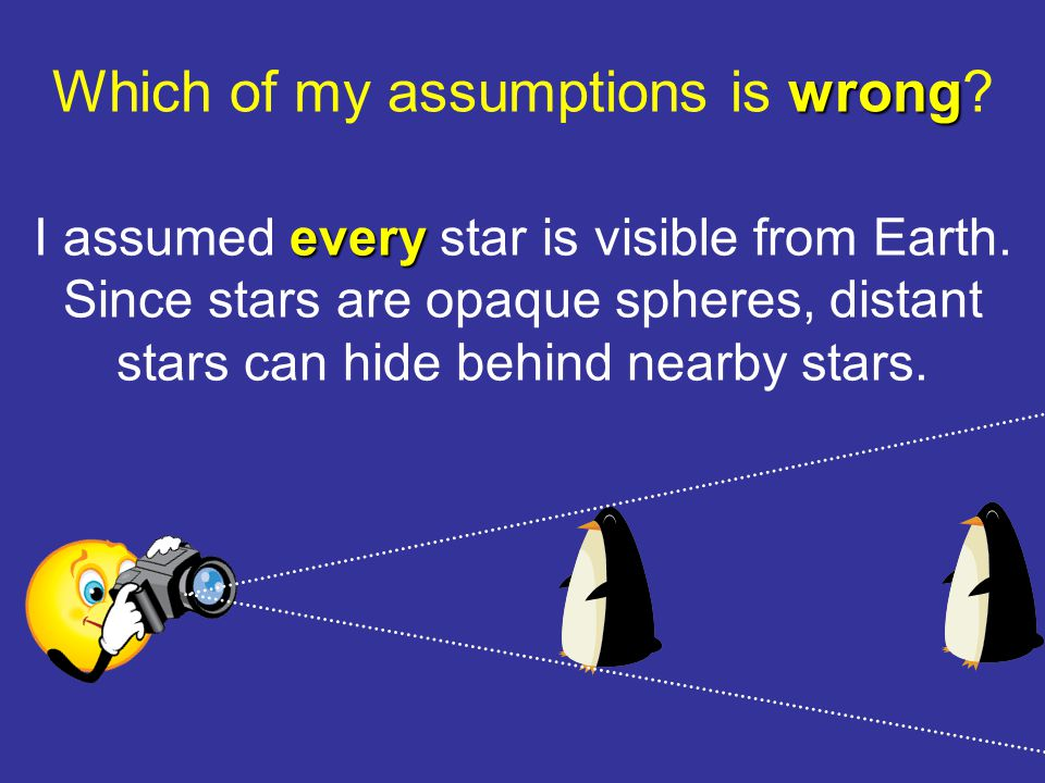 wrong Which of my assumptions is wrong. every I assumed every star is visible from Earth.