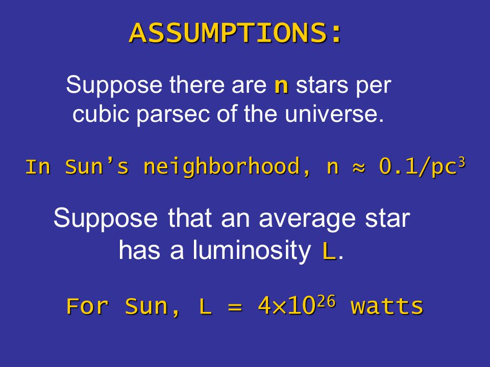 n Suppose there are n stars per cubic parsec of the universe.