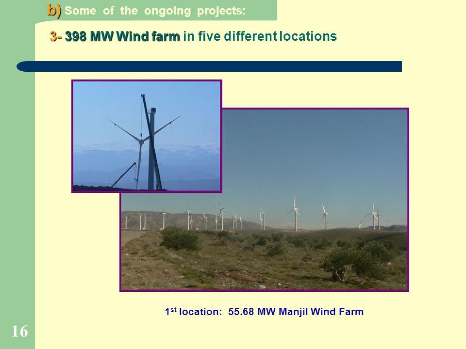 16 3-398 MW Wind farm 3- 398 MW Wind farm in five different locations b) b) Some of the ongoing projects: 1 st location: 55.68 MW Manjil Wind Farm