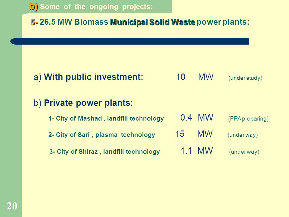 20 a) With public investment: 10 MW (under study) b) Private power plants: 1- City of Mashad, landfill technology 0.4 MW (PPA preparing) 2- City of Sa