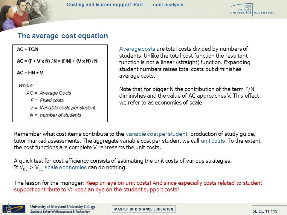 SLIDE / 15 10 What contributes to fixed costs. - development costs of teaching material (e.g.