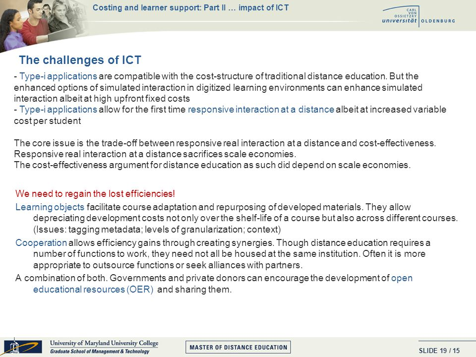 SLIDE / 15 18 ICT stands for Information AND Communication Technologies.