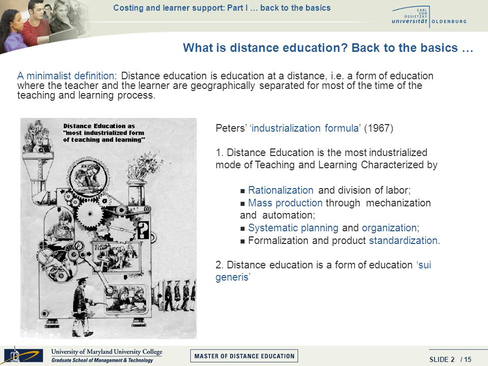 SLIDE / 15 2 A minimalist definition: Distance education is education at a distance, i.e.
