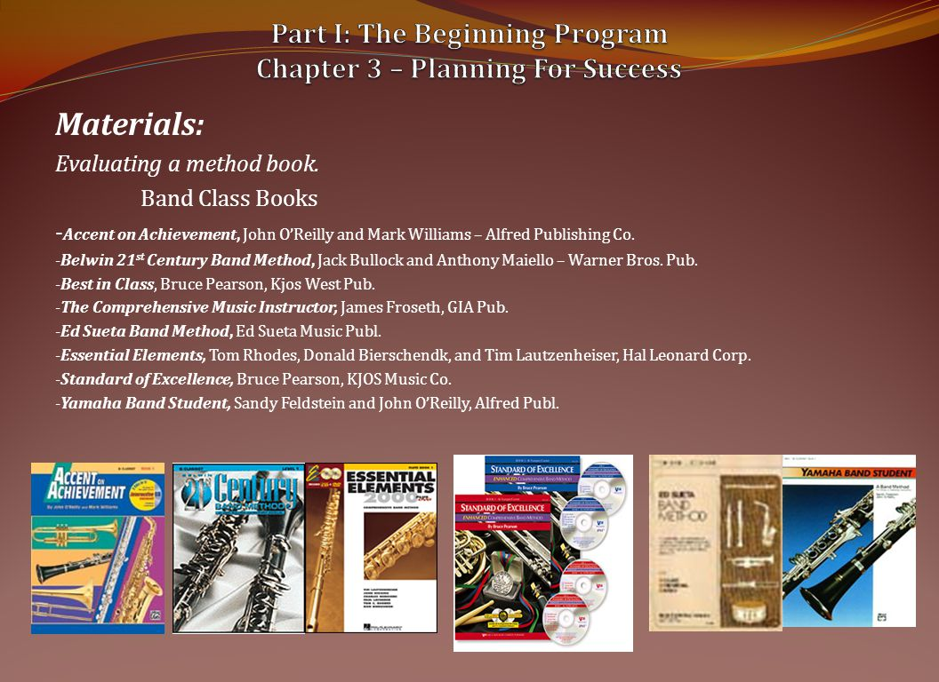 Materials: Evaluating a method book.
