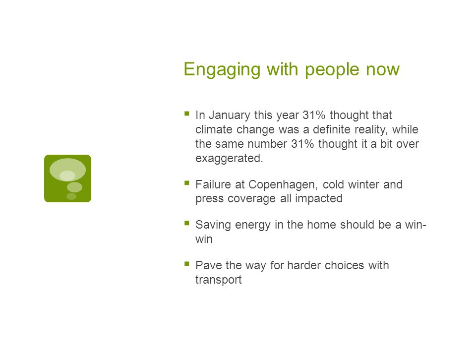 Engaging with people now  In January this year 31% thought that climate change was a definite reality, while the same number 31% thought it a bit over exaggerated.