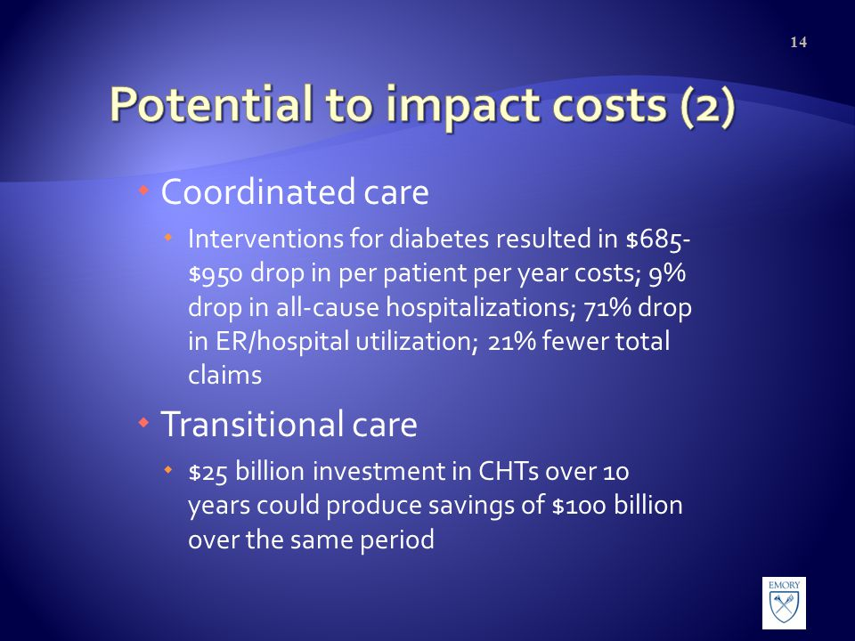  Coordinated care  Interventions for diabetes resulted in $685- $950 drop in per patient per year costs; 9% drop in all-cause hospitalizations; 71% drop in ER/hospital utilization; 21% fewer total claims  Transitional care  $25 billion investment in CHTs over 10 years could produce savings of $100 billion over the same period 14