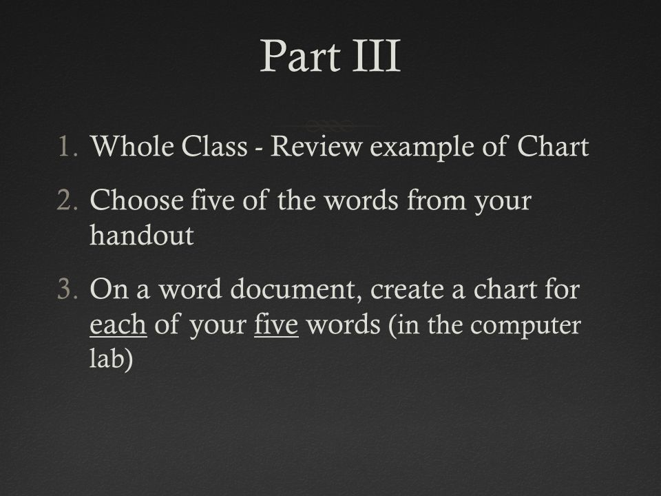 Part IIIPart III 1.Whole Class - Review example of Chart 2.Choose five of the words from your handout 3.On a word document, create a chart for each of