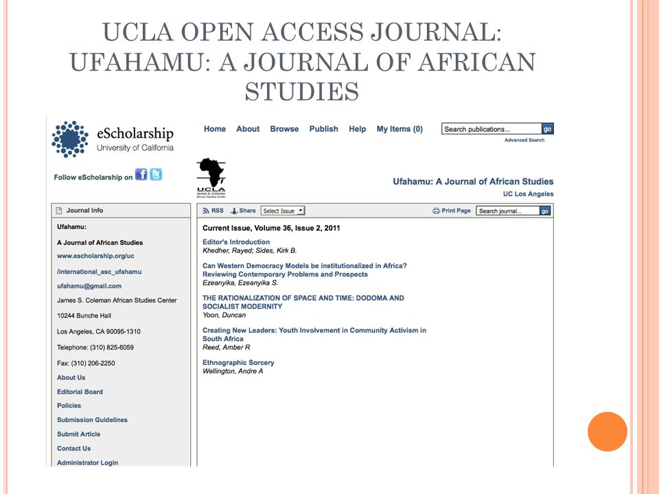 UCLA OPEN ACCESS JOURNAL: UFAHAMU: A JOURNAL OF AFRICAN STUDIES