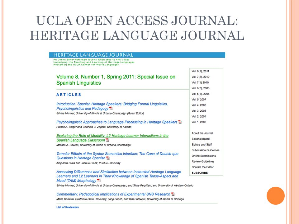 UCLA OPEN ACCESS JOURNAL: HERITAGE LANGUAGE JOURNAL