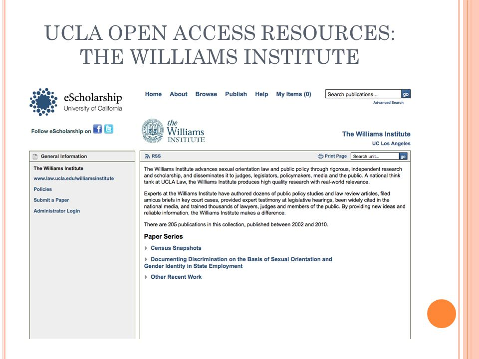 UCLA OPEN ACCESS RESOURCES: THE WILLIAMS INSTITUTE