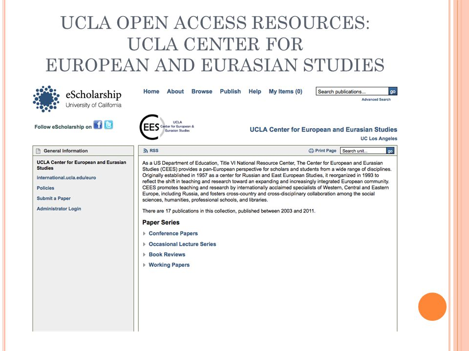 UCLA OPEN ACCESS RESOURCES: UCLA CENTER FOR EUROPEAN AND EURASIAN STUDIES