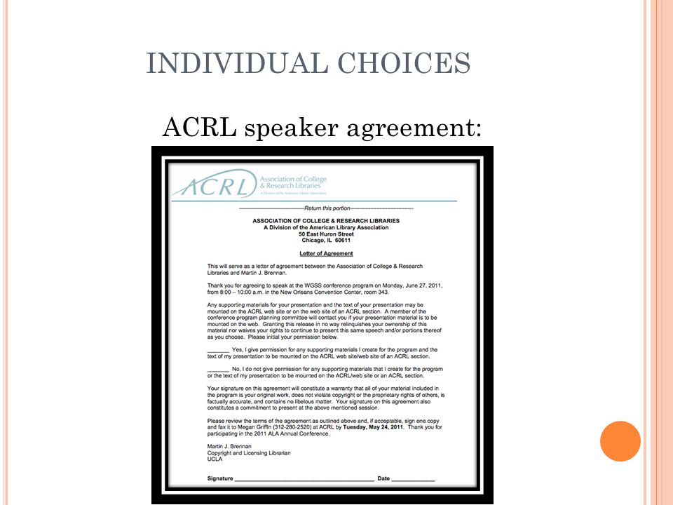 INDIVIDUAL CHOICES ACRL speaker agreement: