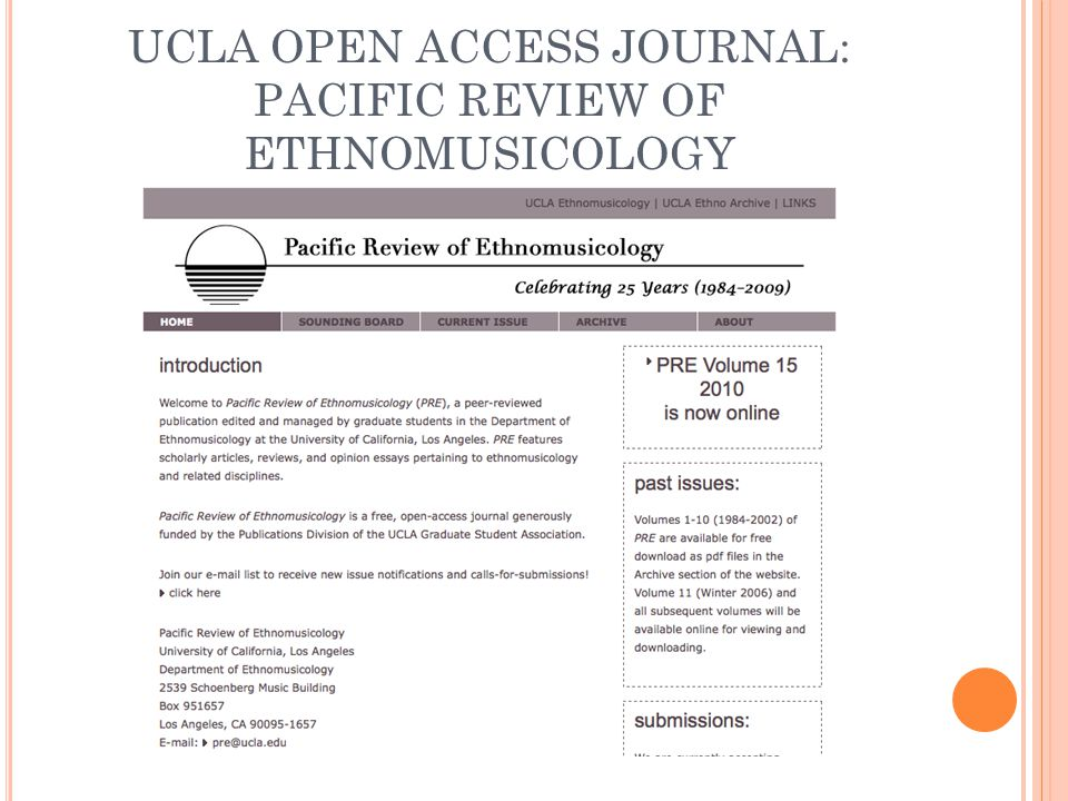 UCLA OPEN ACCESS JOURNAL: PACIFIC REVIEW OF ETHNOMUSICOLOGY
