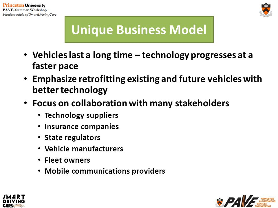 Unique Business Model Vehicles last a long time – technology progresses at a faster pace Emphasize retrofitting existing and future vehicles with bett