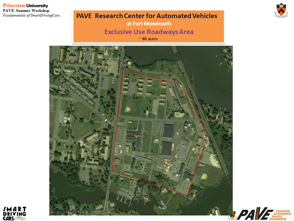 PAVE Research Center for Automated Vehicles at Fort Monmouth Exclusive Use Roadways Area ~ 80 acres PAVE Research Center for Automated Vehicles at For