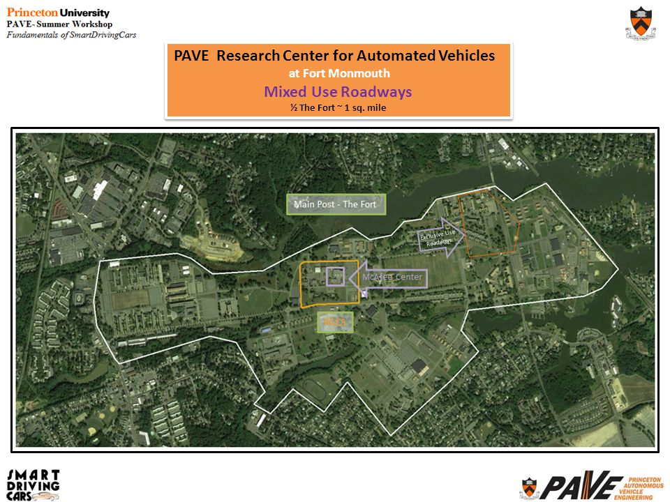PAVE Research Center for Automated Vehicles at Fort Monmouth Mixed Use Roadways ½ The Fort ~ 1 sq. mile PAVE Research Center for Automated Vehicles at