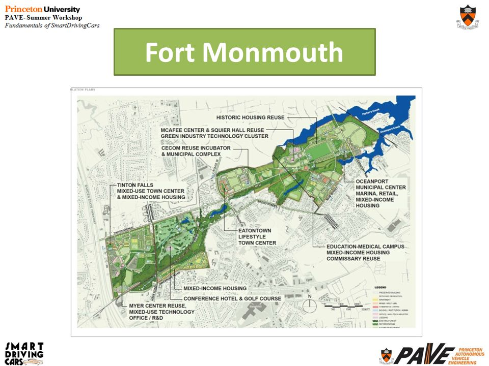 1,126 acre former US Army base closed in 2011 State of New Jersey created Fort Monmouth Economic Revitalization Authority (FMERA) Promote, develop, encourage and maintain employment, commerce, economic development, and the public welfare Conserve natural resources; and Advance the general prosperity and economic welfare of the people in the affected communities and throughout the state.