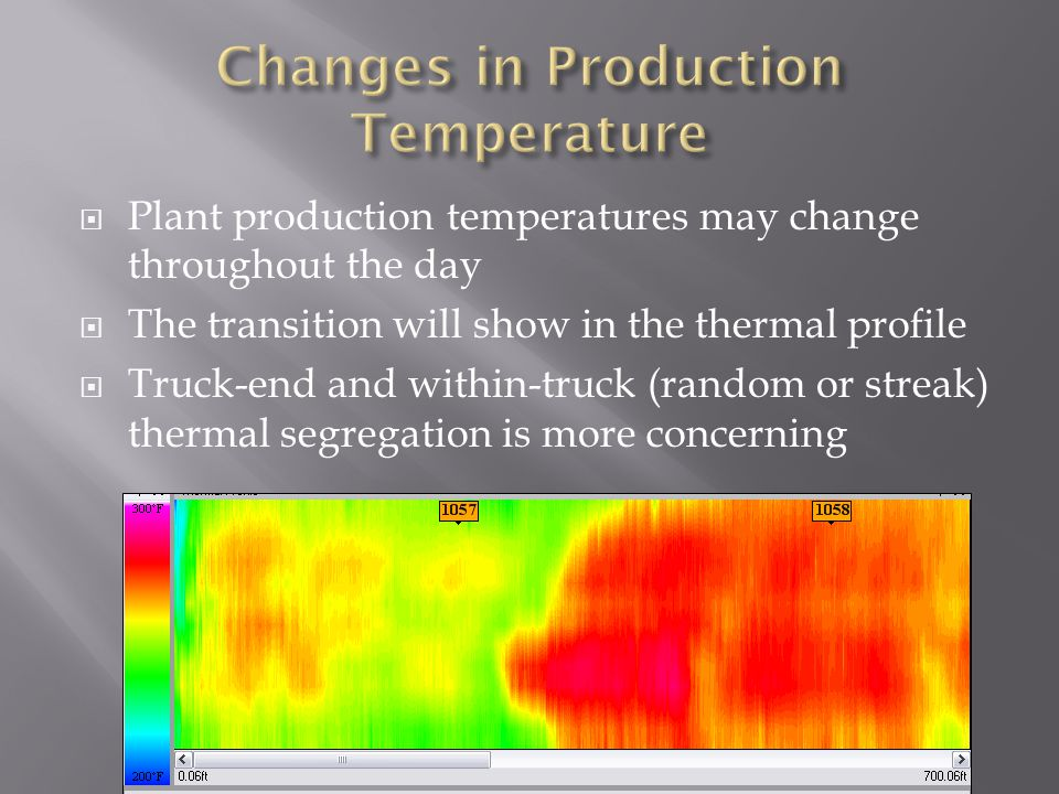  Plant production temperatures may change throughout the day  The transition will show in the thermal profile  Truck-end and within-truck (random or streak) thermal segregation is more concerning