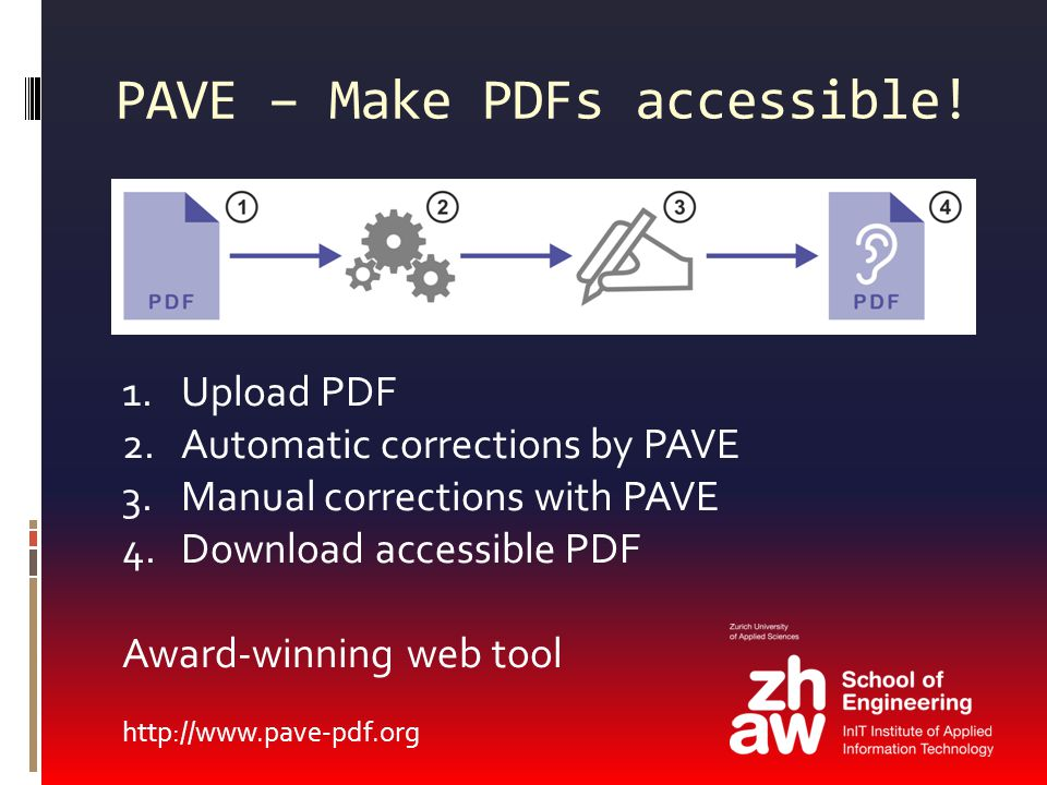 1.Upload PDF 2.Automatic corrections by PAVE 3.Manual corrections with PAVE 4.Download accessible PDF Award-winning web tool http://www.pave-pdf.org P