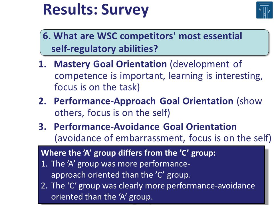 1. Mastery Goal Orientation (development of competence is important, learning is interesting, focus is on the task) 2. Performance-Approach Goal Orien