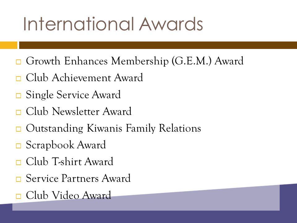International Awards  Growth Enhances Membership (G.E.M.) Award  Club Achievement Award  Single Service Award  Club Newsletter Award  Outstanding