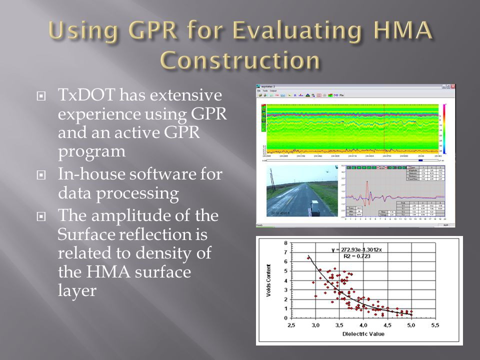  TxDOT has extensive experience using GPR and an active GPR program  In-house software for data processing  The amplitude of the Surface reflection is related to density of the HMA surface layer