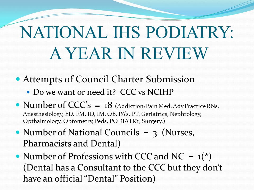 NATIONAL IHS PODIATRY: A YEAR IN REVIEW Attempts of Council Charter Submission Do we want or need it.