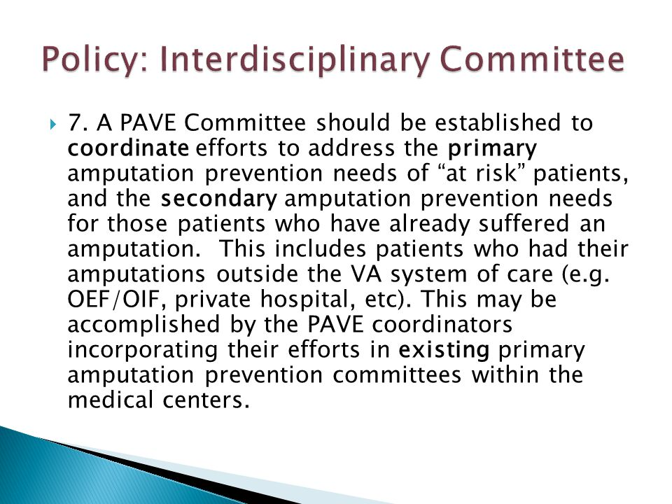 """ 7. A PAVE Committee should be established to coordinate efforts to address the primary amputation prevention needs of """"at risk"""" patients, and the se"""