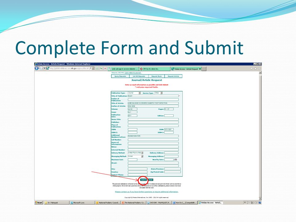 Complete Form and Submit