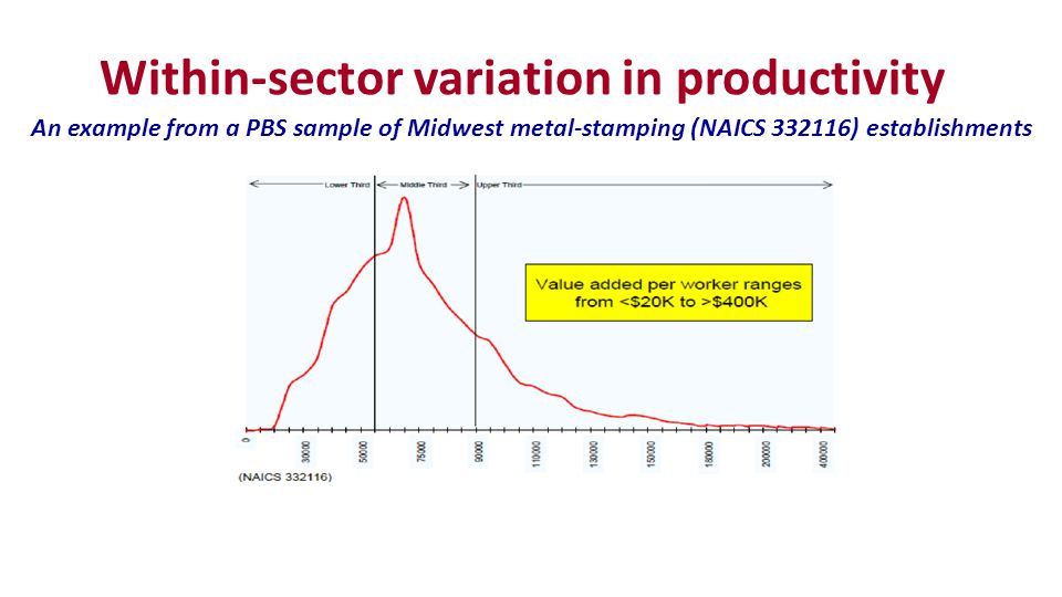 Within-sector variation in productivity An example from a PBS sample of Midwest metal-stamping (NAICS 332116) establishments