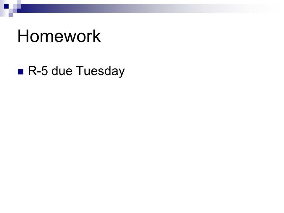 Homework R-5 due Tuesday
