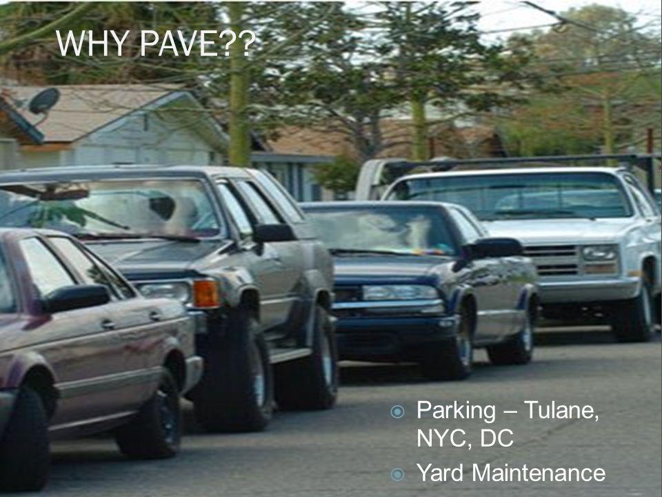 WHY PAVE??  Parking – Tulane, NYC, DC  Yard Maintenance