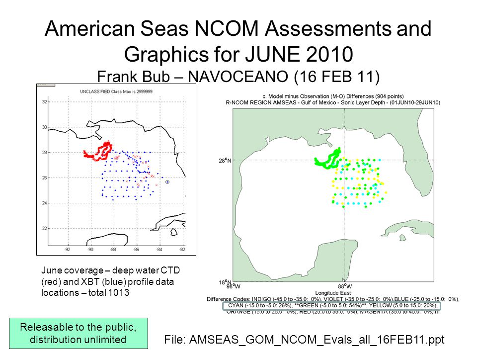 AMSEAS-NCOM – Forecast day 1 (taus 00-24) – JUNE 2010 SLD, then Temperature and Salinity at Surface, 100, 10, 50, 150, 250, 500, 1000m
