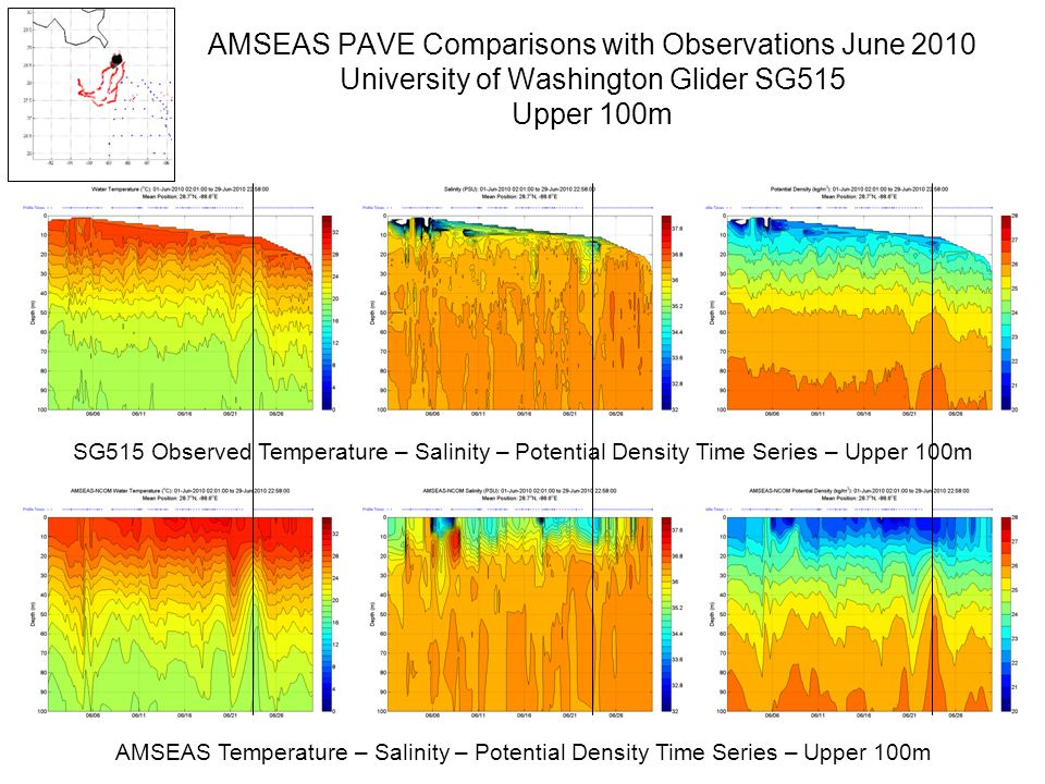 AMSEAS PAVE Comparisons with Observations June 2010 University of Washington Glider SG515 Upper 100m AMSEAS Temperature – Salinity – Potential Density Time Series – Upper 100m SG515 Observed Temperature – Salinity – Potential Density Time Series – Upper 100m