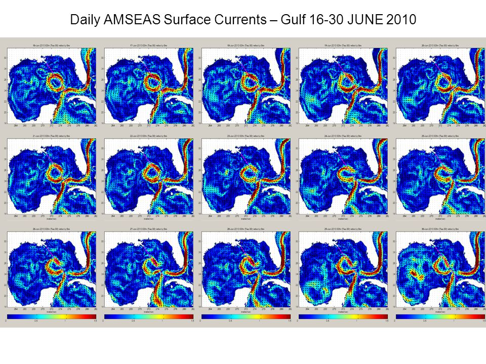 Daily AMSEAS Surface Currents – Gulf 16-30 JUNE 2010