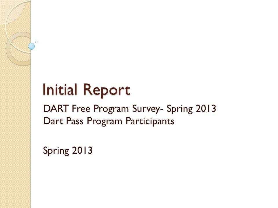 Initial Report Initial Report DART Free Program Survey- Spring 2013 Dart Pass Program Participants Spring 2013