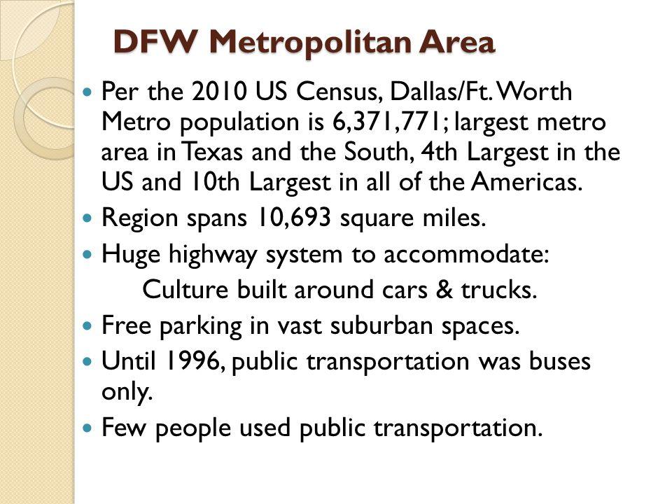 DFW Metropolitan Area Per the 2010 US Census, Dallas/Ft.