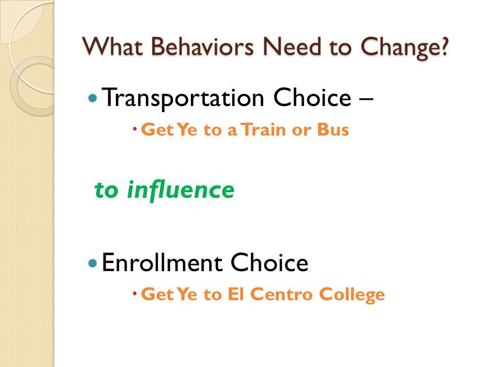 What Behaviors Need to Change.