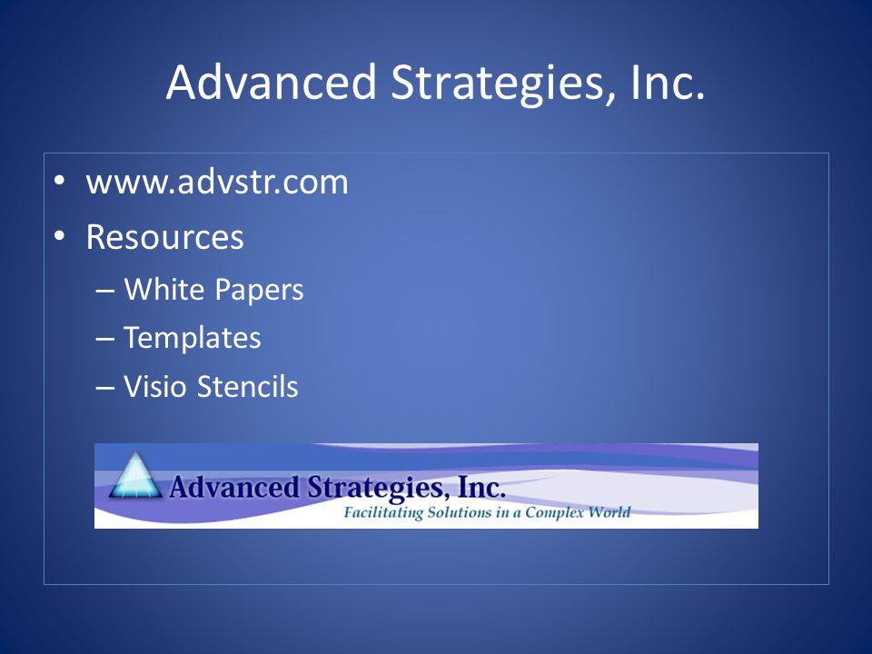 Advanced Strategies, Inc. www.advstr.com Resources – White Papers – Templates – Visio Stencils