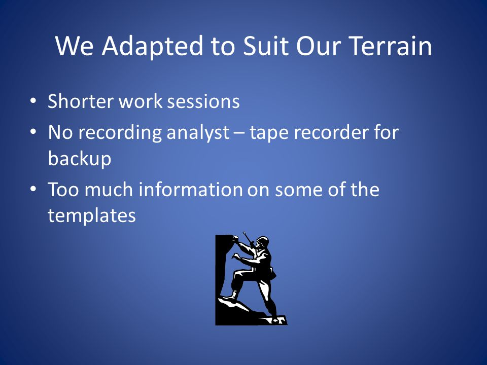 We Adapted to Suit Our Terrain Shorter work sessions No recording analyst – tape recorder for backup Too much information on some of the templates