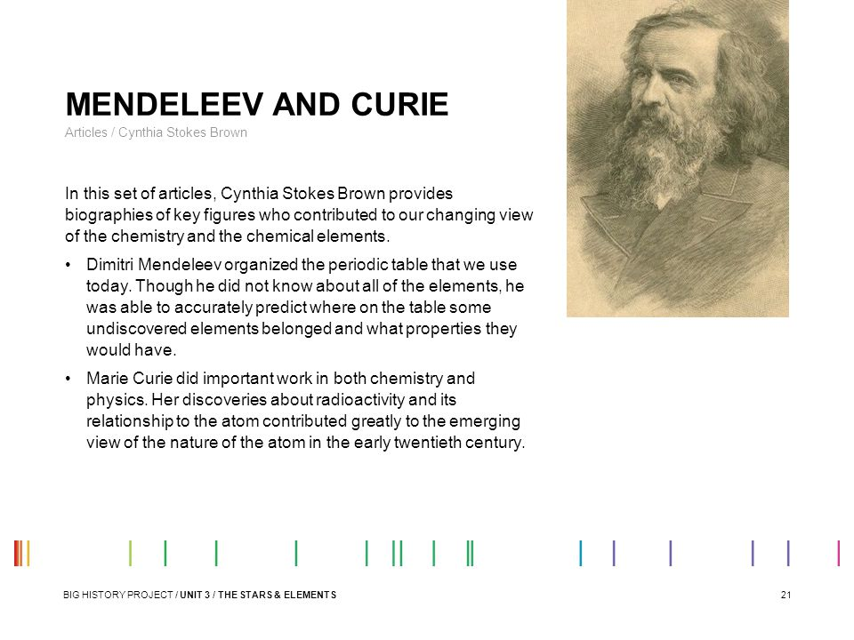 21 MENDELEEV AND CURIE Articles / Cynthia Stokes Brown In this set of articles, Cynthia Stokes Brown provides biographies of key figures who contribut