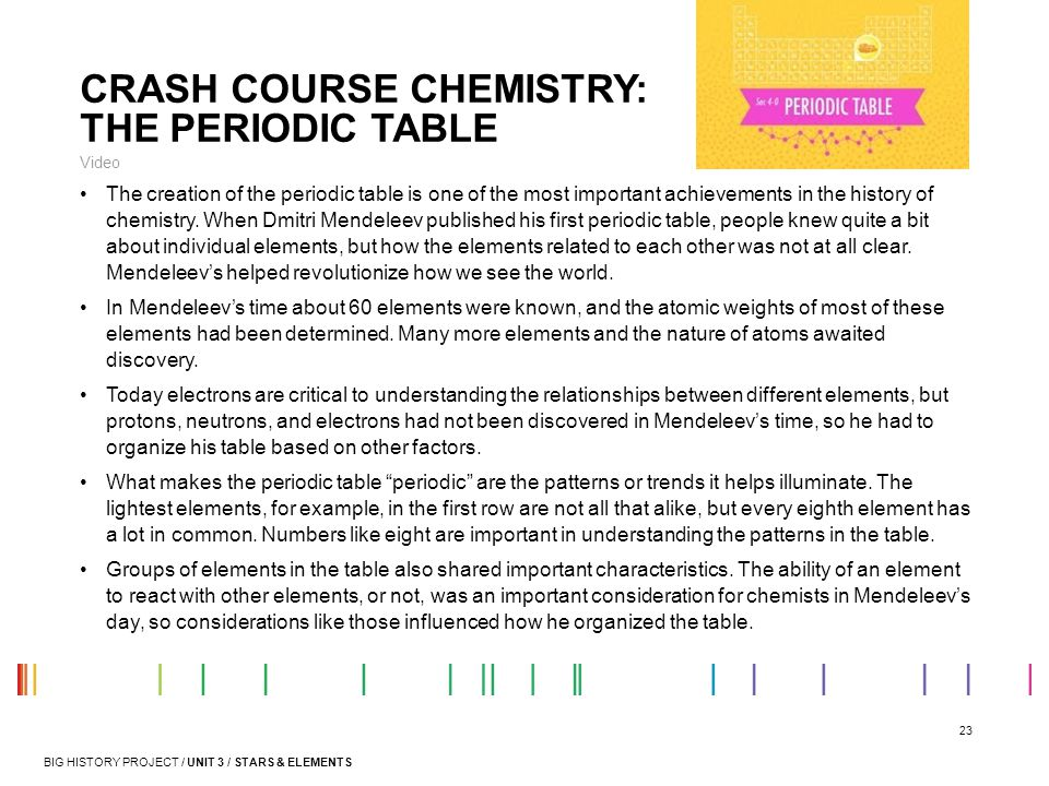 23 CRASH COURSE CHEMISTRY: THE PERIODIC TABLE Video The creation of the periodic table is one of the most important achievements in the history of che