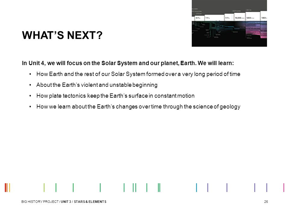25 WHAT'S NEXT? BIG HISTORY PROJECT / UNIT 3 / STARS & ELEMENTS In Unit 4, we will focus on the Solar System and our planet, Earth. We will learn: How