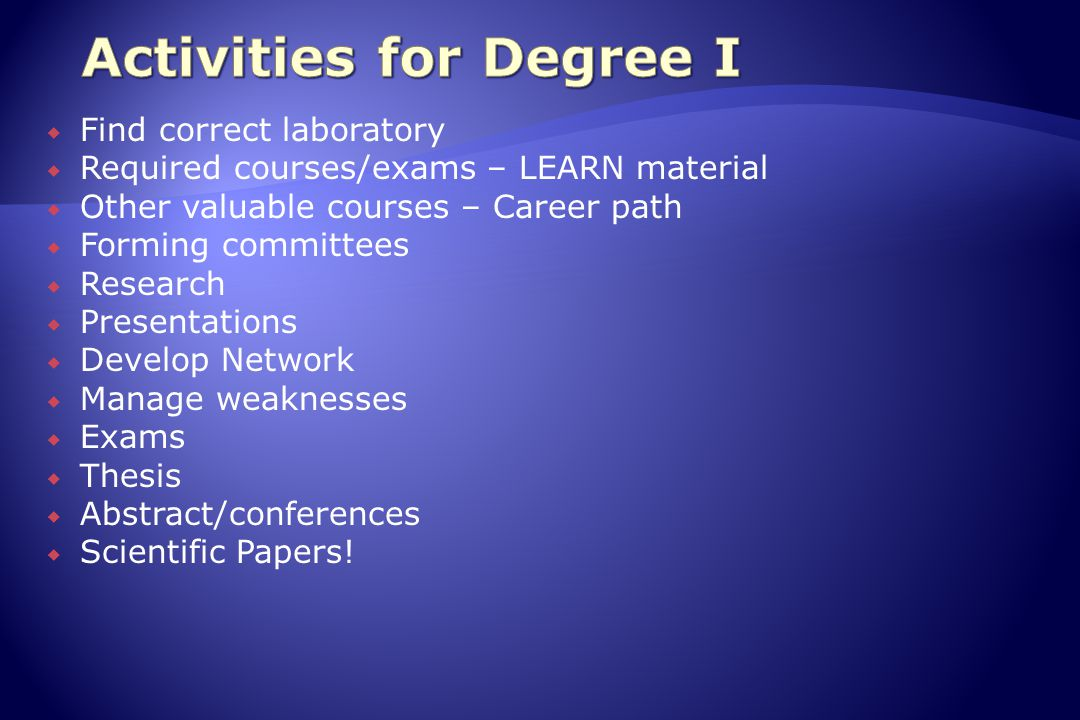  Find correct laboratory  Required courses/exams – LEARN material  Other valuable courses – Career path  Forming committees  Research  Presentations  Develop Network  Manage weaknesses  Exams  Thesis  Abstract/conferences  Scientific Papers!