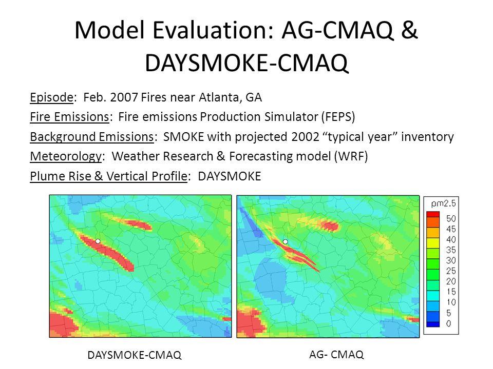 Model Evaluation: AG-CMAQ & DAYSMOKE-CMAQ Episode: Feb. 2007 Fires near Atlanta, GA Fire Emissions: Fire emissions Production Simulator (FEPS) Backgro